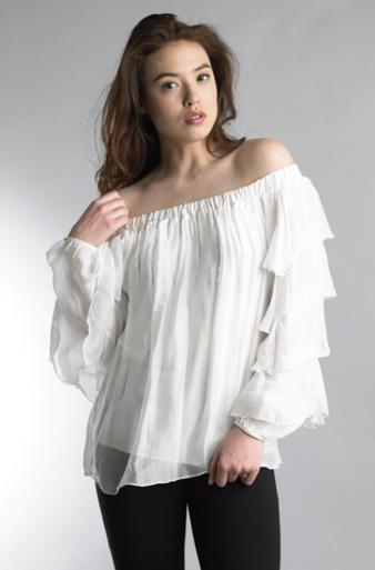 Tempo Paris Ruffle Sleeve Silk Off Shoulder Top