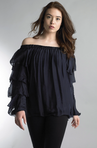 Tempo Paris Ruffle Sleeve Silk Off Shoulder Top Navy