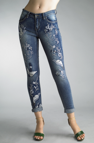 Tempo Paris 81480C Embroidered Jeans
