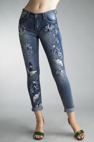 Tempo Paris 81480C Embroidered Jeans