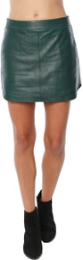 Karina Grimaldi Jacob Leather Mini Skirt Forest Green