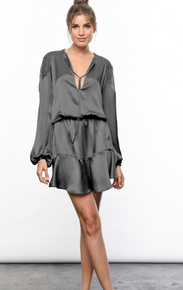 Karina Grimaldi Ariana Silk Mini Dress Charcoal