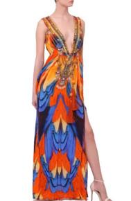Shahida Parides Tribal Sunset Print Long Dress