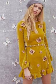 For Love and Lemons Papillon Velvet Mini Dress Dark Goldenrod