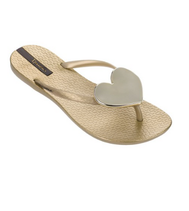 2018 Ipanema Wave Heart Flip Flop Gold Gold