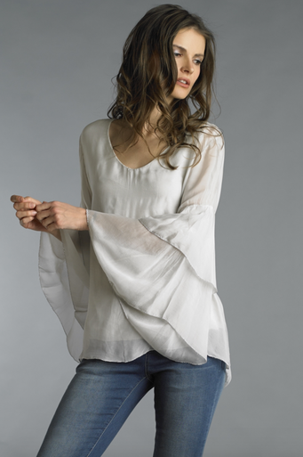 Tempo Paris 8298H Tiered Long Sleeve Top Beige