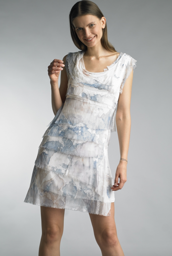 Tempo Paris 8906M Tie Dye Tiered Silk Dress Denim