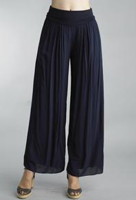 Tempo Paris 18055J Foldover Waist Silk Blend Pants Navy
