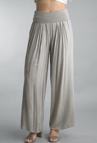 Tempo Paris 18055J Foldover Waist Silk Blend Pants Taupe