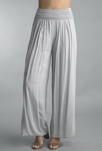 Tempo Paris 18055J Foldover Waist Silk Blend Pants Silver