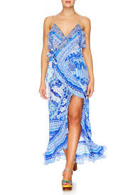 Camilla Throwing Shade Long Wrap Dress with Frill