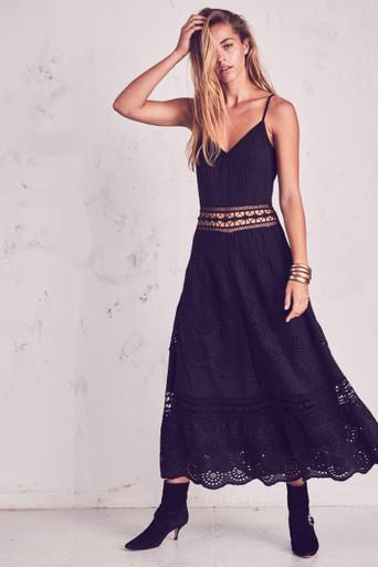 Love Shack Fancy Edith Dress Black