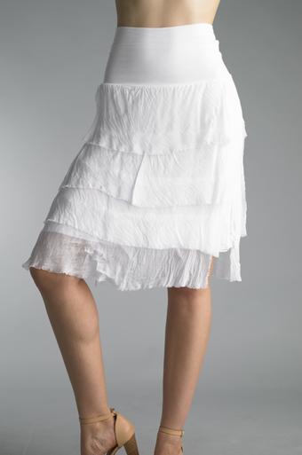 Tempo Paris 60899Q Short Silk Tiered Skirt White