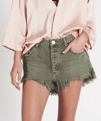 One Teaspoon Cutoff Shorts Le Wolves Super Khaki