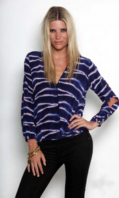 Karina Grimaldi Abner Silk Top in Saphire Tiger