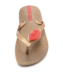 Ipanema Neo Love II Lips Flip Flops Gold Red