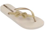 Ipanema Shoes Glitter Bow Flip Flops Beige Gold