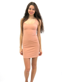 Abyss by Abby Scoop Neck Crepe Mini Dress Rose