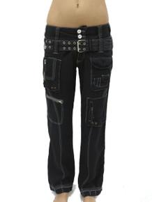 Pete and Greta Linen Cargo Pants Black
