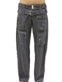 Pete and Greta Linen Cargo Pants Soot