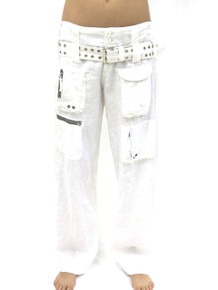 Pete and Greta Linen Cargo Pants White