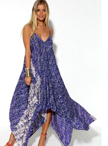 Karina Grimaldi Irene Silk Print Dress Blue