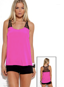 Karina Grimaldi Faith Lace Tank Hot Pink