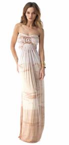 Sky Solariss Strapless Maxi Dress Nude Tie Dye