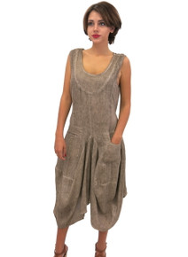 Tempo Paris Side Panel Linen Dress Taupe