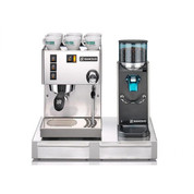Rancilio Silvia Espresso Machine and Rocky SD Doserless Grinder w Base
