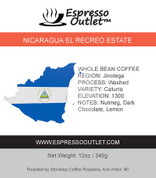 Nicaragua El Recreo Estate Whole Bean Coffee