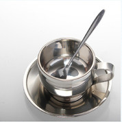 Caffe Arts™ Stainless Steel 150ml Cappuccino Cup and Saucer