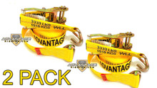 "2 Pack - Transport Durabilt Ratchet Strap - Wire J Hook - 27' Foot Length 2"" Width"