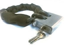 """10 foot Lock Chain  with 3/8"""" shielded chain with Defender Security Lock and keys"""