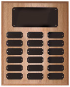 18 Plate Oak Finish Perpetual Plaque - Free Engraving