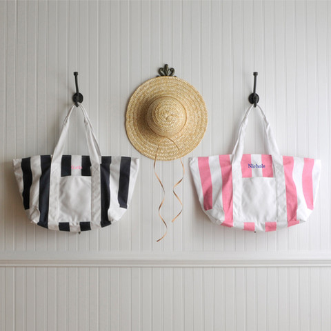 Personalized Candy Striped Beach Tote Bag