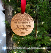 """""""Our First Christmas as..."""" Custom Ornament"""