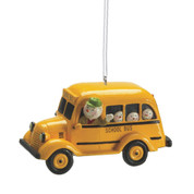 Snowman Driving School Bus Ornament