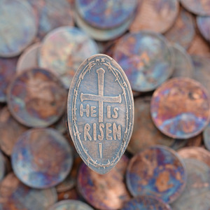 Pressed Copper Penny - He Is Risen