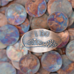 Pressed Copper Penny - I Do - Love Birds