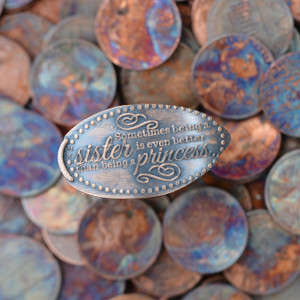 Pressed Copper Penny - Sometimes Being a Sister is Even Better Than Being a Princess