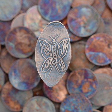 Pressed Copper Penny - Cure Cancer Butterfly Ribbon