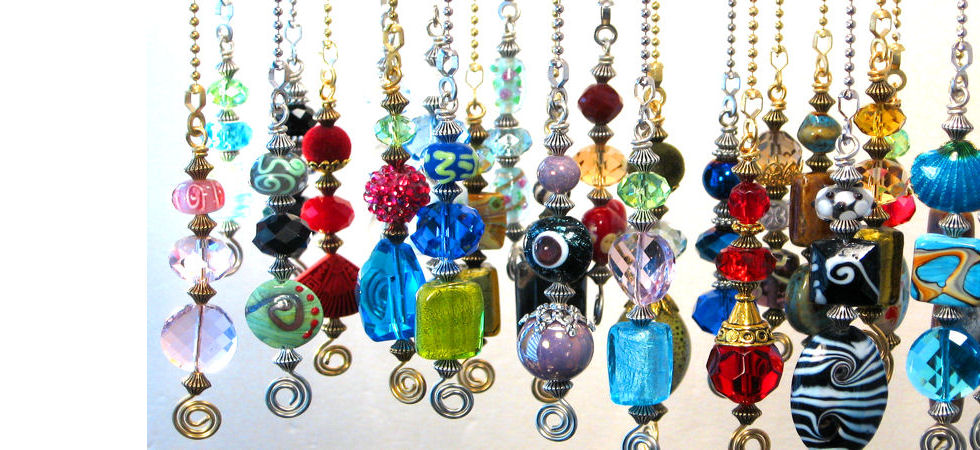 Trace Ellements Jewelry and CeilingFan Pulls: colorful glass and ...:house jewelry. CEILING FAN PULL CHAINS,Lighting