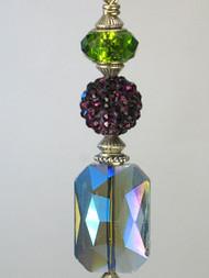 A Glam Green and Blue--Rhinestone Fan Pull