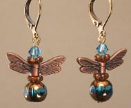 Turquoise Blue Copper Twilight Flight Dragonfly Earrings