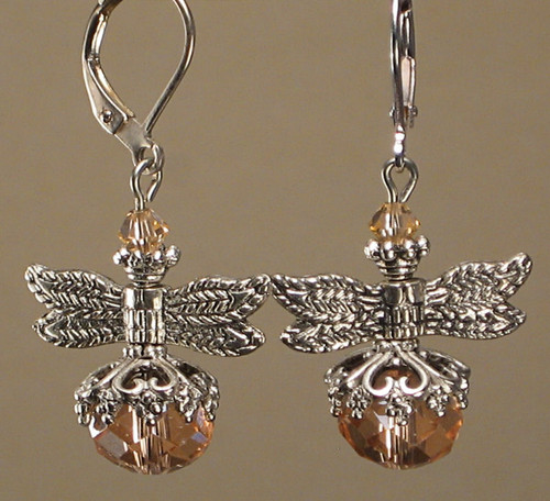 Peach glass silver dragonfly earrings