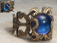 Moody Blue Filigree Ring