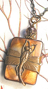 Amber Mother of Pearl Dragonfly Necklace