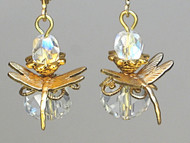 Clear Faceted Glass Dragonfly Earrings