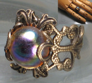 Iridescent Pool of Translucent Color--Filigree Ring